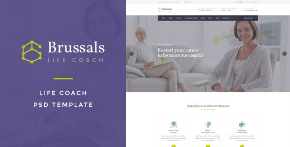 Brussals : Life Coach PSD Template - Creative PSD Templates