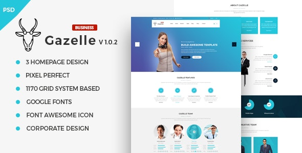Gazelle Business PSD Template - Corporate PSD Templates