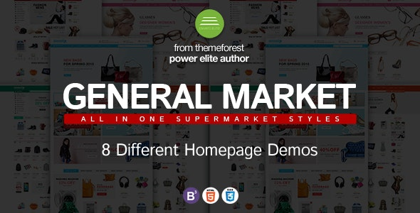Dance General Market Store HTML Template with Bootstrap 3 and jQuery - Shopping Retail