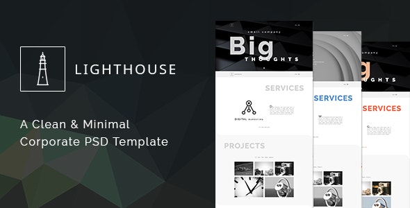 Lighthouse - One Page Minimal Corporate PSD Template - Corporate PSD Templates