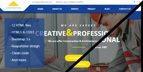 Construction & Building HTML Template - Corporate Site Templates