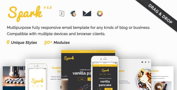 Spark - Responsive Email Template + StampReady Drag and Drop Builder