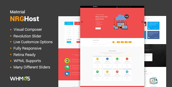 Material Web Hosting WordPress Theme + WHMCS - Hosting Technology