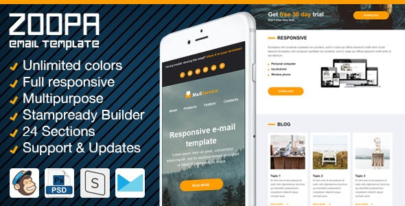 Zoopa - Responsive Newsletter with Email Template Builder - Newsletters Email Templates