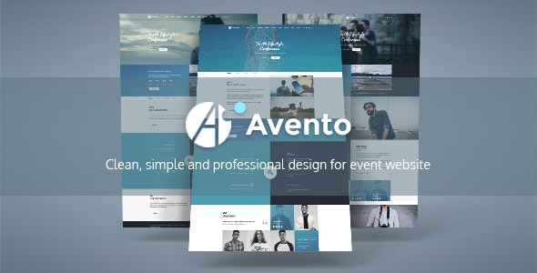 Avento - One Page Conference and Event PSD Template - Business Corporate