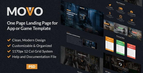MOVO - One Page Landing page for App or Games PSD Template - Technology Photoshop