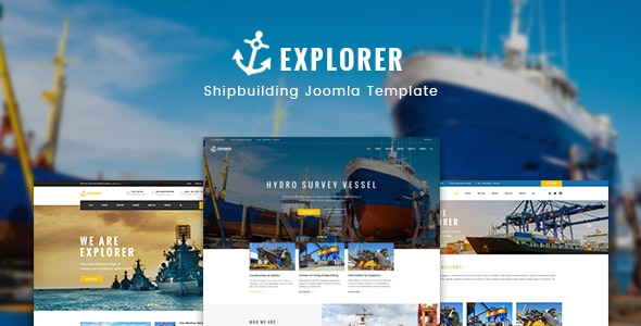 Explorer - Factory Construction & Ship Building Joomla Theme - Business Corporate