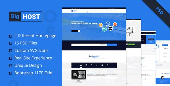 BigHost - Web Hosting Domain Technology PSD Template - Hosting Technology