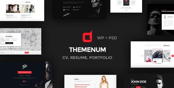 Themenum - Personal Vcard Resume & Cv Responsive WordPress Theme - Portfolio Creative
