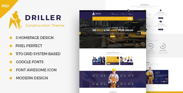 Driller -  Construction & Building PSD Template - Corporate Photoshop