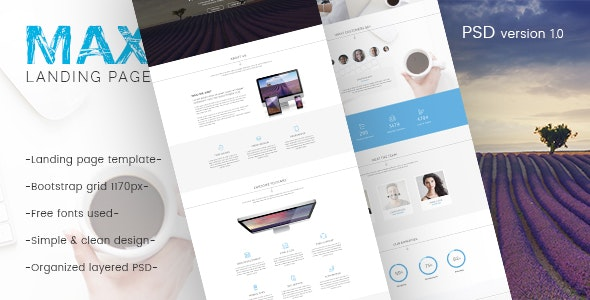 Max - Landing Page PSD Template - Creative Photoshop