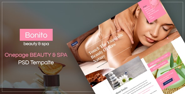 BONITO - beauty & spa Onepage PSD Template - Health & Beauty Retail