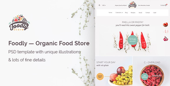 Foodly — Organic Food Store PSD Template - Health & Beauty Retail
