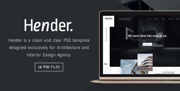 Hender - Architecture and Interior Design Agency PSD Template - Creative Photoshop