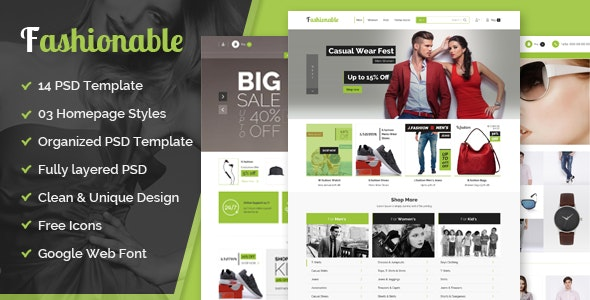 fashionable– eCommerce PSD Template - Fashion Retail