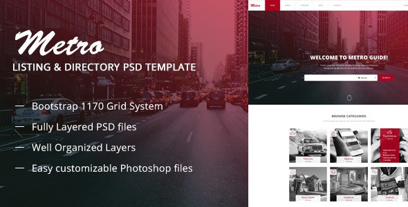 Metro Directory & Listing Multipurpose PSD Template - Business Corporate