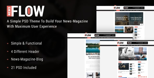 Flow News - Magazine and Blog PSD Template - Miscellaneous Photoshop