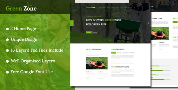Green Zone – Gardening and Landscaping PSD Template - Photoshop UI Templates