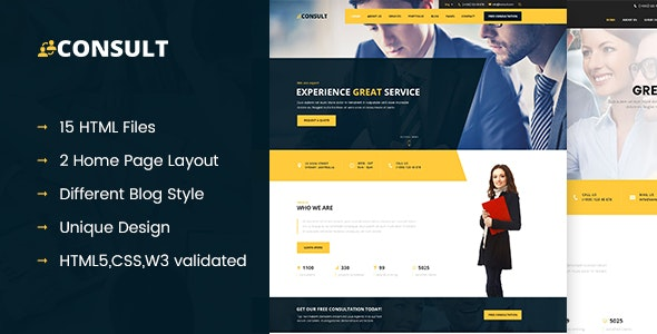 CONSULT - Consultant Business HTML Template - Corporate Site Templates