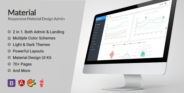 Material Design AngularJS Admin Web App with Bootstrap 4 - Admin Templates Site Templates