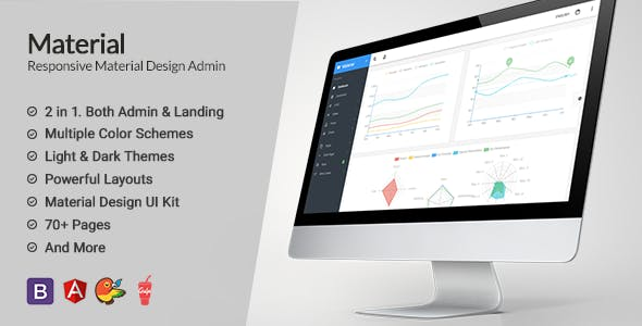 Material Design AngularJS Admin Web App with Bootstrap 4