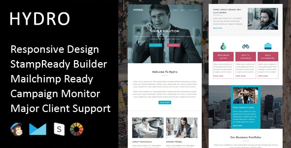 Hydro - Multipurpose Responsive Email Template + Stampready Builder - Email Templates Marketing