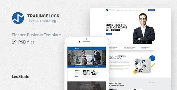 Finance Business PSD Template | Tradingblock - Business Corporate