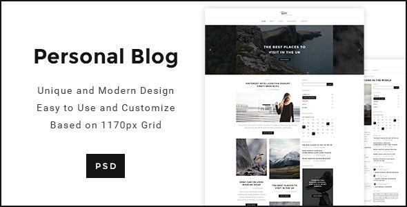 Personal Blog - Modern Minimal Personal Blog PSD - Personal Photoshop