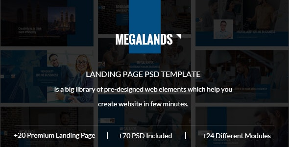 MegaLands - Multipurpose Marketing Landing Pages PSD Template - Marketing Corporate