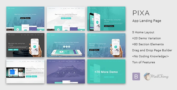 Pixa - App Landing Page with Builder - Apps Technology