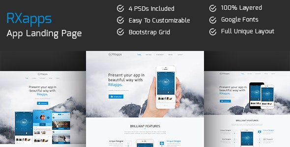 RXapps - App Landing PSD Template - Software Technology