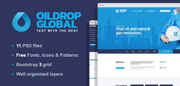 OilDrop - oil and gas industrial PSD template by mwtemplates