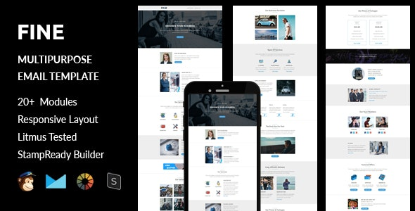 Fine - Multipurpose Responsive Email Template + Stampready Builder - Email Templates Marketing