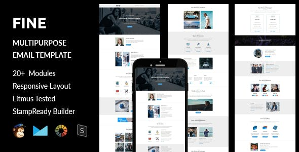 Fine - Multipurpose Responsive Email Template + Stampready Builder
