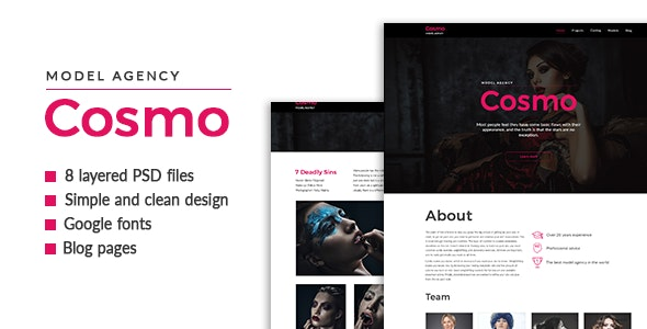 Cosmo — Model Agency PSD Template - Fashion Retail