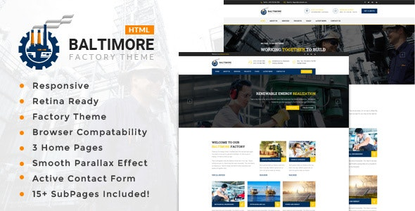 Baltimore Factory - Industrial Business HTML5 Template - Business Corporate
