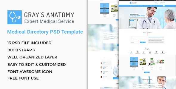 Gray S Anatomy Medical Directory Psd Template By Themerole