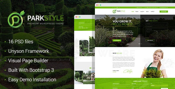 Parkstyle - lawn mowing and landscape design WordPress Theme - Business Corporate