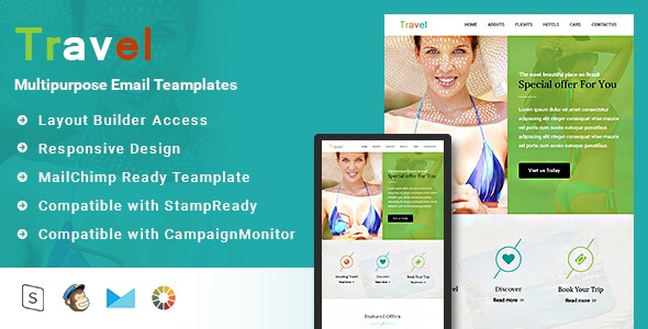 Travel-Responsive Email Template + Stampready builder - Email Templates Marketing