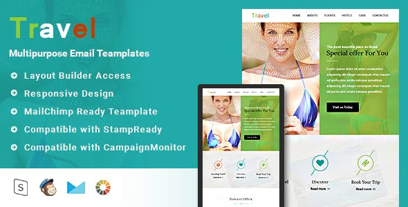 Travel-Responsive Email Template + Stampready builder