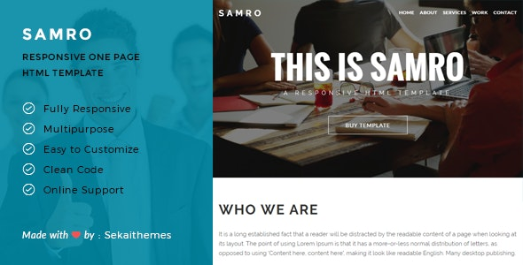 Samro - Responsive One Page HTML Template - Corporate Site Templates