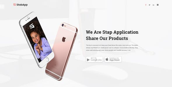 StabApp - App Landing Page -  PSD Template