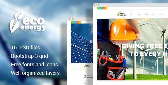 Eco Energy - Ecology & Alternative Energy Company PSD Template - Business Corporate