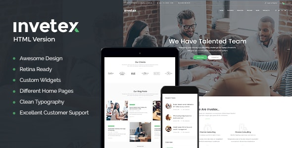 Invetex | Business Consulting & Investments Site Template - Business Corporate