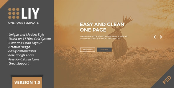 LIY - One Page PSD Template - Creative PSD Templates