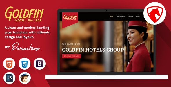 Goldfin Hotel, SPA, Bar- HTML Landing Page Template - Landing Pages Marketing