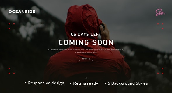 OceanSide — Responsive Coming Soon Template - Specialty Pages Site Templates