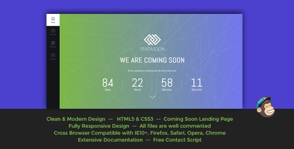 Pentasoon - Modern Coming Soon Template - Under Construction Specialty Pages