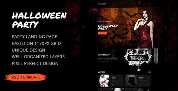 Halloween Party — Landing Page PSD Template - Events Entertainment