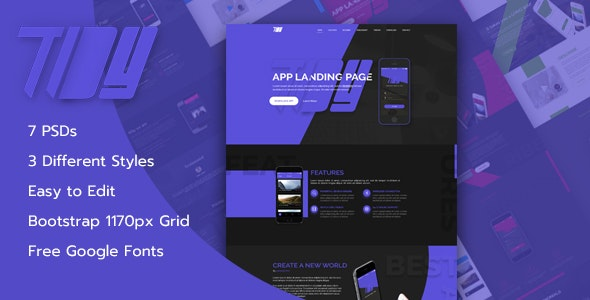 TiDY - Mobile App Landing Page Design - PSD Template - Technology PSD Templates